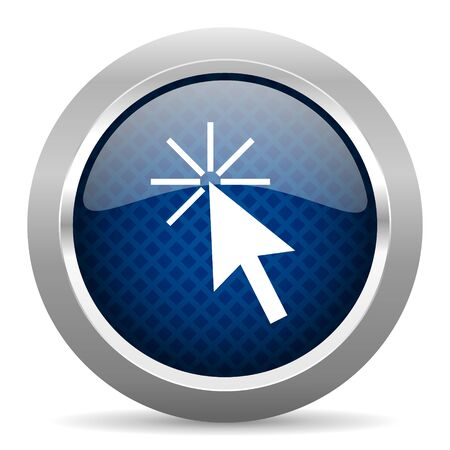 click button: click here blue circle glossy web icon on white background, round button for internet and mobile app