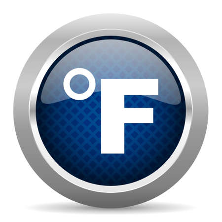 fahrenheit: fahrenheit blue circle glossy web icon on white background, round button for internet and mobile app