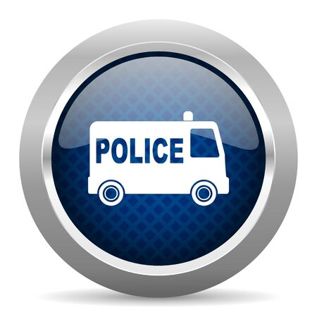 highway patrol: police blue circle glossy web icon on white background, round button for internet and mobile app