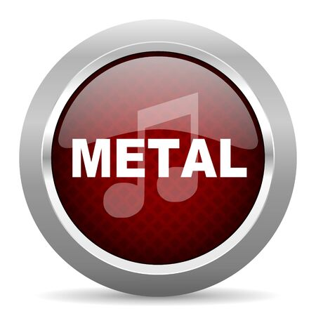 metal music: metal music red glossy web icon Stock Photo