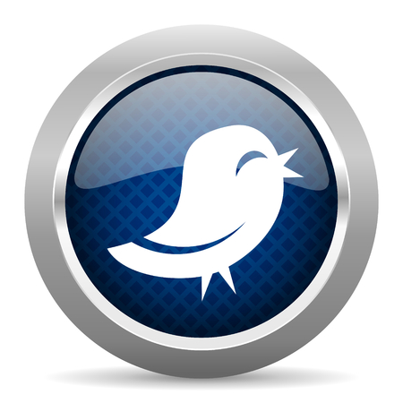 twitter blue circle glossy web icon on white background, round button for internet and mobile app