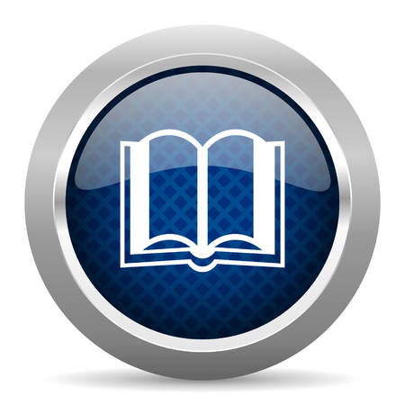 guestbook: book blue circle glossy web icon on white background, round button for internet and mobile app