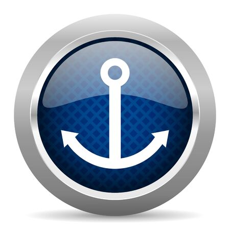quay: anchor blue circle glossy web icon on white background, round button for internet and mobile app
