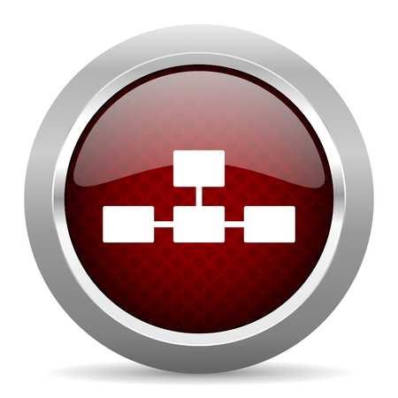 database icon: database red glossy web icon Stock Photo