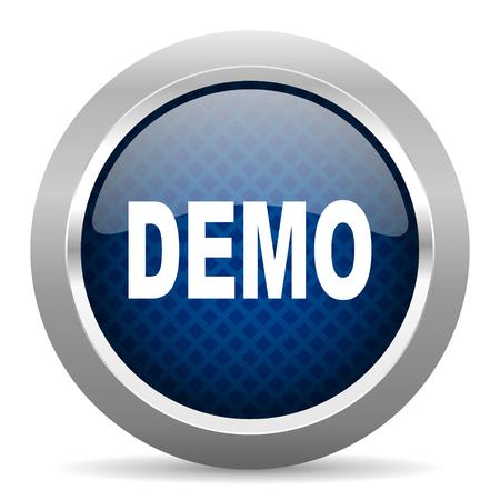 흰색 배경에 파란색 원형 광택 웹 아이콘, 인터넷 및 모바일 응용 프로그램 단추 라운드 데모 데모