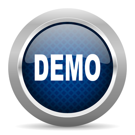 demo blauwe cirkel glossy web pictogram op witte achtergrond, ronde knop voor internet en mobiele app Stockfoto
