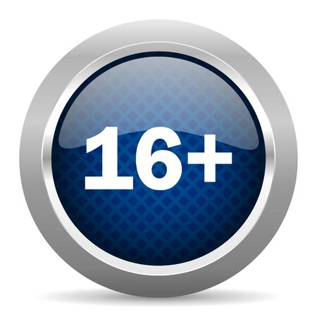 permitted: adults blue circle glossy web icon on white background, round button for internet and mobile app