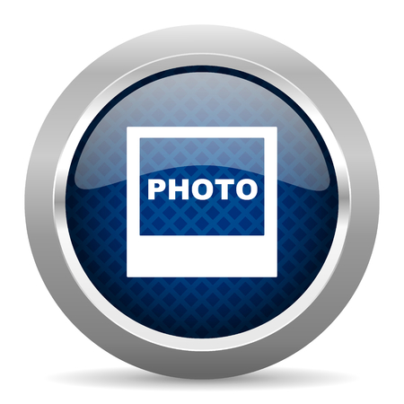 silver picture frame: photo blue circle glossy web icon on white background, round button for internet and mobile app Stock Photo
