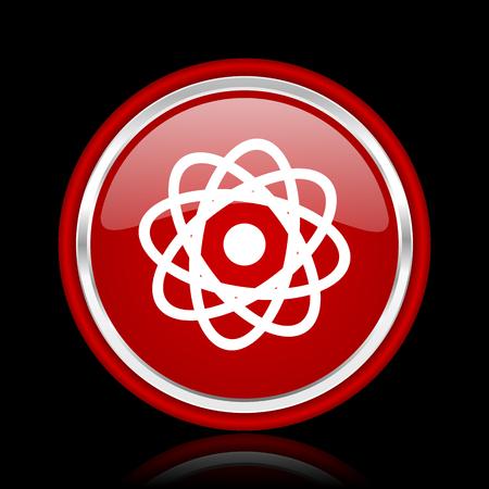 gamma radiation: atom red glossy cirle web icon on black bacground Stock Photo