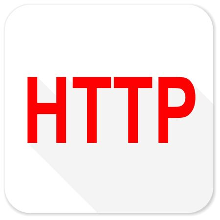 http: http red flat icon with long shadow on white background