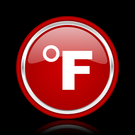 fahrenheit: fahrenheit red glossy cirle web icon on black bacground