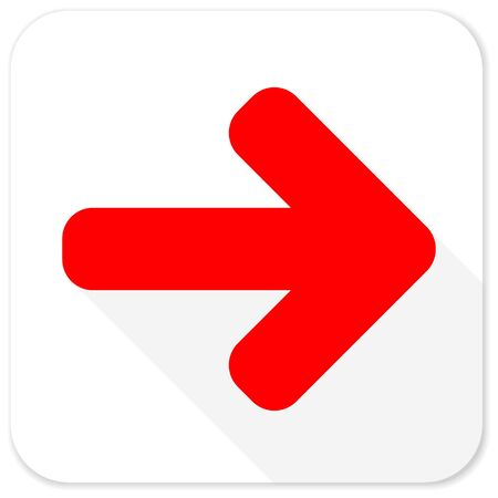 go forward: right arrow red flat icon with long shadow on white background
