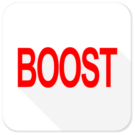 boost: boost red flat icon with long shadow on white background