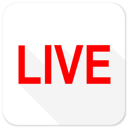 live stream sign: live red flat icon with long shadow on white background