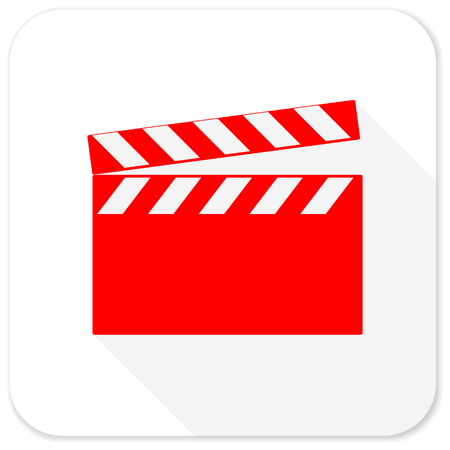 directors cut: video red flat icon with long shadow on white background