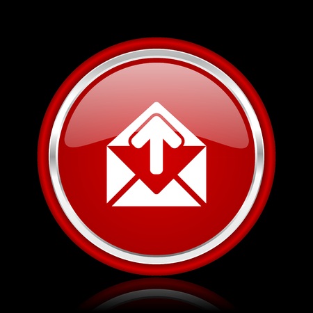 secretariat: email red glossy cirle web icon on black bacground Stock Photo