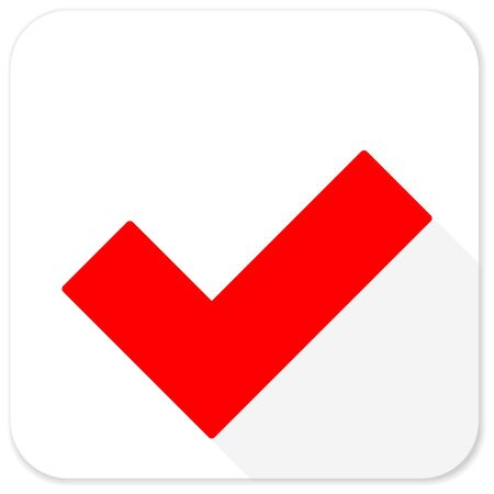 yea: accept red flat icon with long shadow on white background Stock Photo