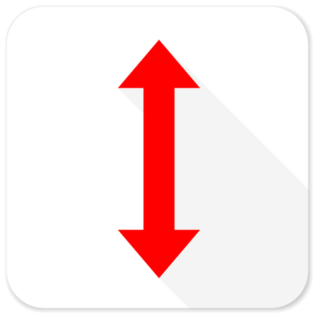 sterring: arrow red flat icon with long shadow on white background