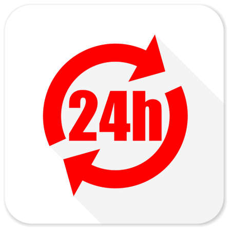 24h: 24h red flat icon with long shadow on white background Stock Photo