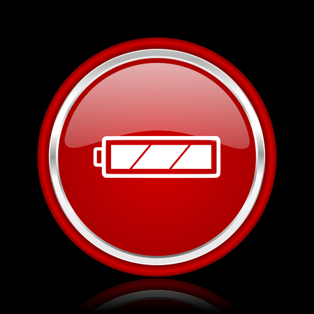 accuse: battery red glossy cirle web icon on black bacground Stock Photo