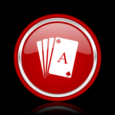picto: card red glossy cirle web icon on black bacground Stock Photo