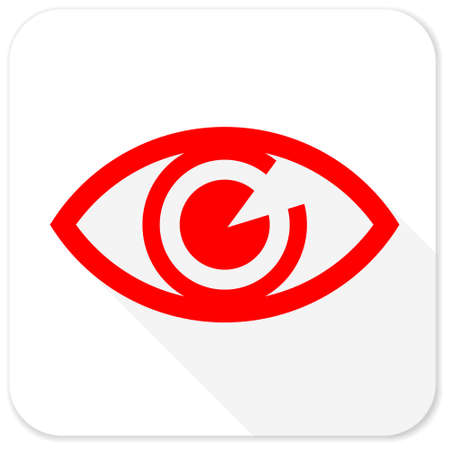 eye red: eye red flat icon with long shadow on white background