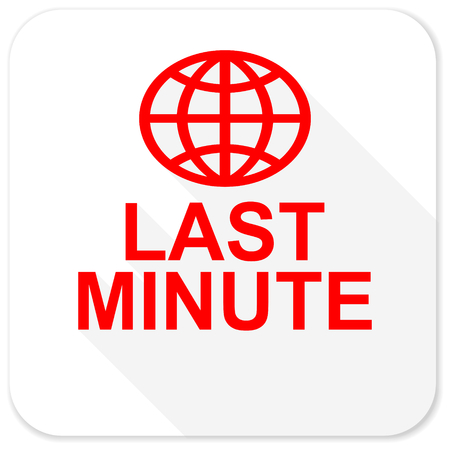 long weekend: last minute red flat icon with long shadow on white background