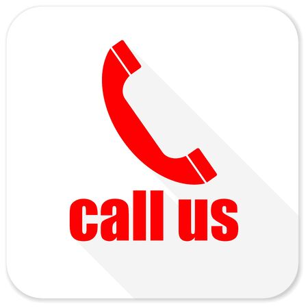 call us: call us red flat icon with long shadow on white background