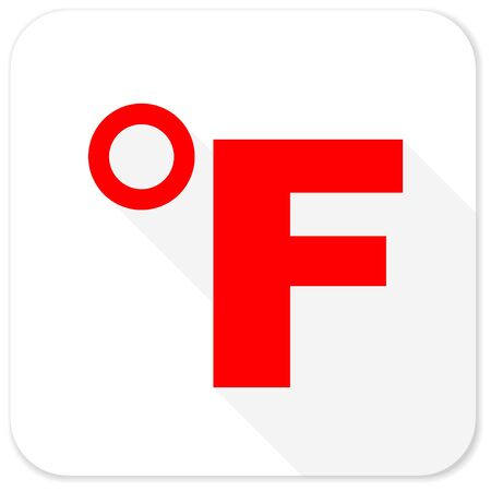 coldness: fahrenheit red flat icon with long shadow on white background