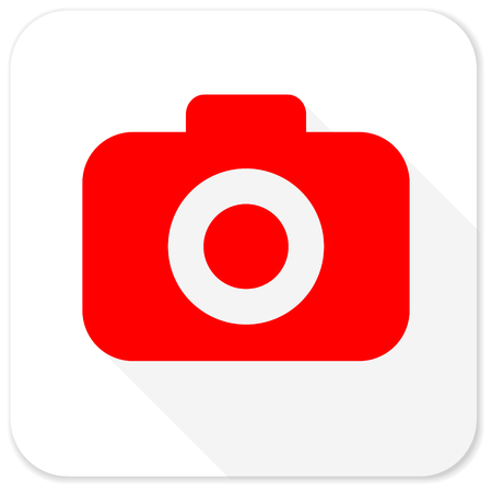 picto: photo camera red flat icon with long shadow on white background Stock Photo