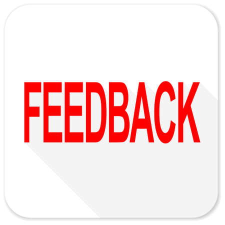 respond: feedback red flat icon with long shadow on white background Stock Photo