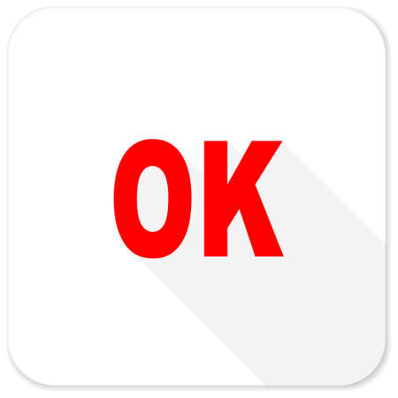 yea: ok red flat icon with long shadow on white background