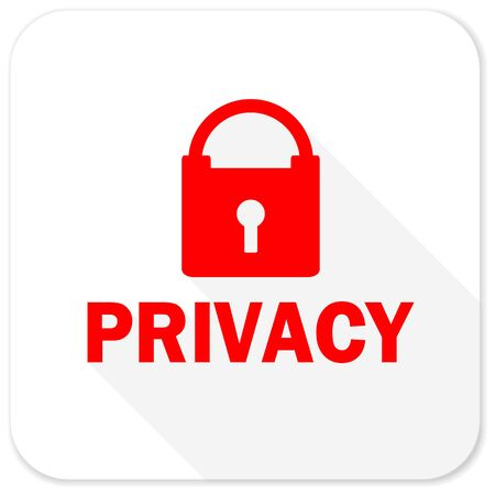 private access: privacy red flat icon with long shadow on white background Stock Photo