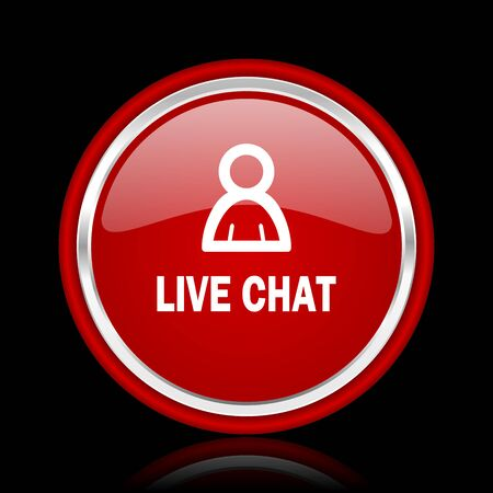 people discuss: live chat red glossy cirle web icon on black bacground
