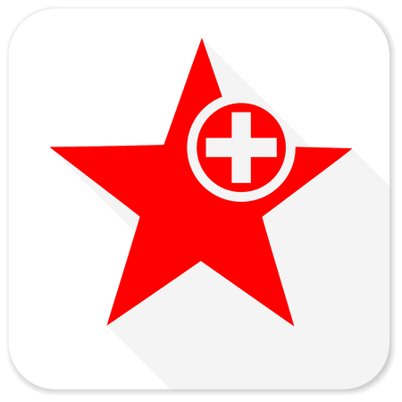 preference: star red flat icon with long shadow on white background