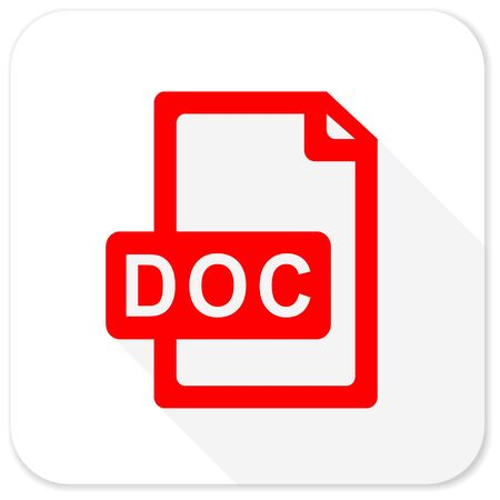 bibliography: doc file red flat icon with long shadow on white background