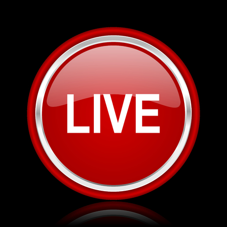 live stream sign: live red glossy cirle web icon on black bacground