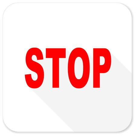 proscribed: stop red flat icon with long shadow on white background Stock Photo