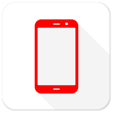 technological and communication: smartphone red flat icon with long shadow on white background