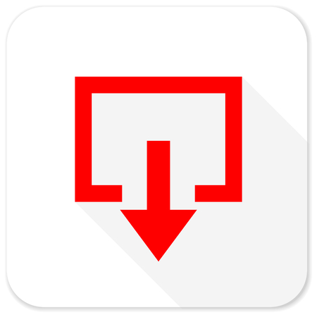 emergency exit label: exit red flat icon with long shadow on white background Stock Photo