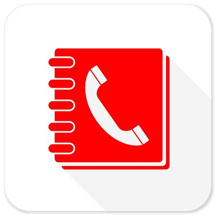 phonebook: phonebook red flat icon with long shadow on white background