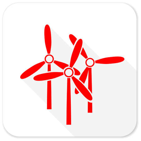 alternate: windmill red flat icon with long shadow on white background Stock Photo