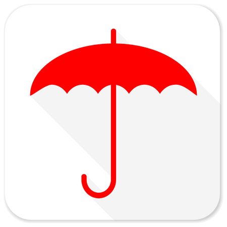 humidity: umbrella red flat icon with long shadow on white background
