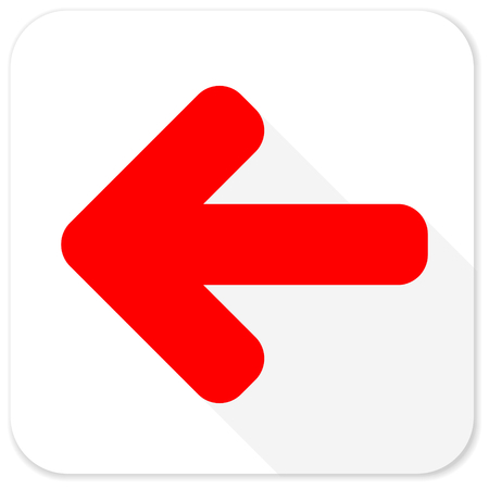 move backward: left arrow red flat icon with long shadow on white background
