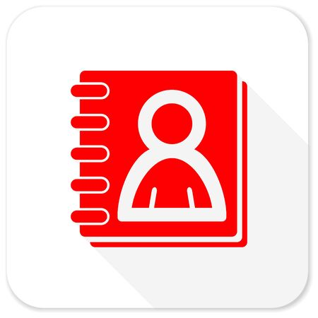 address book: address book red flat icon with long shadow on white background