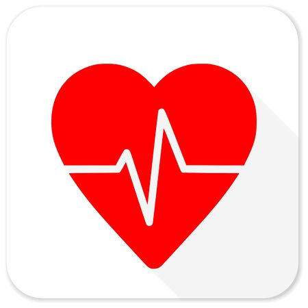 cardiograph: pulse red flat icon with long shadow on white background
