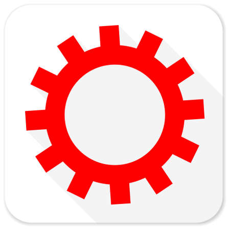 icon red: gear red flat icon with long shadow on white background