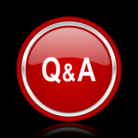 question and answer: question answer red glossy cirle web icon on black bacground Stock Photo