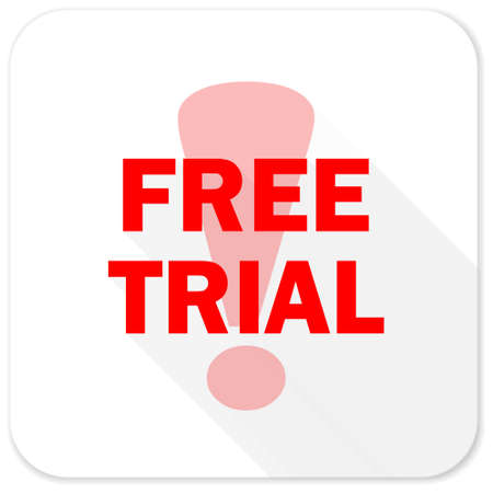 trials: free trial red flat icon with long shadow on white background