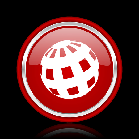 parallels: earth red glossy cirle web icon on black bacground